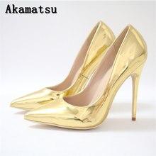 Primavera oro Stilettos tacones altos bombas mujeres Akamatsu 2018 italiano  señora Oficina patente de cuero deslizamiento a43a7cad0cb8