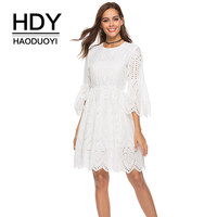 HDY Haoduoyi Women White Lace Dress Flare Sleeve Mini Dresses Pink Elegant female Hollow out Solid color 2018 Autumn Vestidos