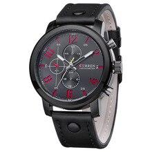 2017 mens relógios top marca de luxo curren esporte militar relógios homens de couro de quartzo dos homens assistir à prova d' água relogio masculino