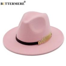 BUTTERMERE Fedora Hat Pink Ladies Elegant Winter Women Wool Felt Leaf Large Brim British Cap Vintage Jazz Bowler