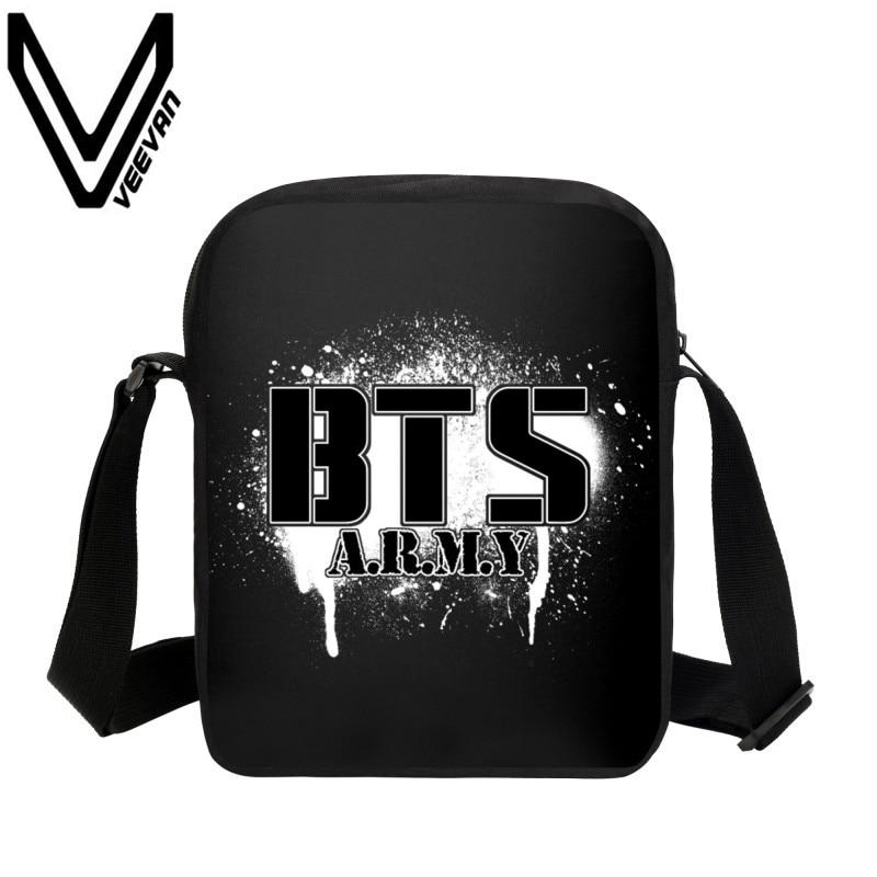 VEEVANV Brand 2017 BTS Messenger Bags 3D Prints Handbag Bangtan Boys Bags Kids Small Crossbody Bags Student Travel Shoulder Bags