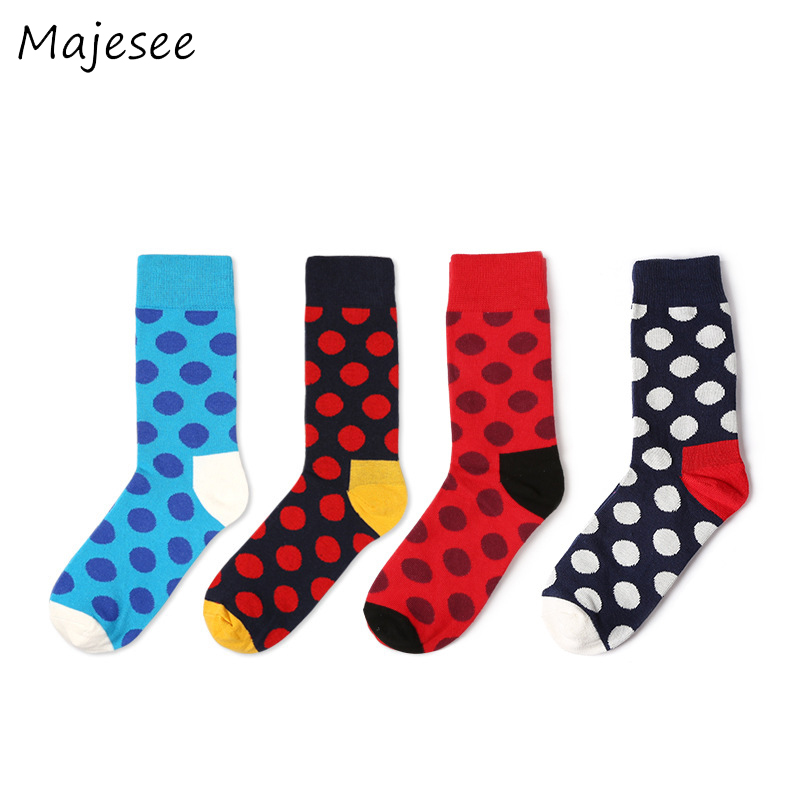 Cotton Mens Sock Printed Dots Japanese Style Men Funny Crew Creative New Style Breathable Tube Socks Colorful Soft 10 Colors