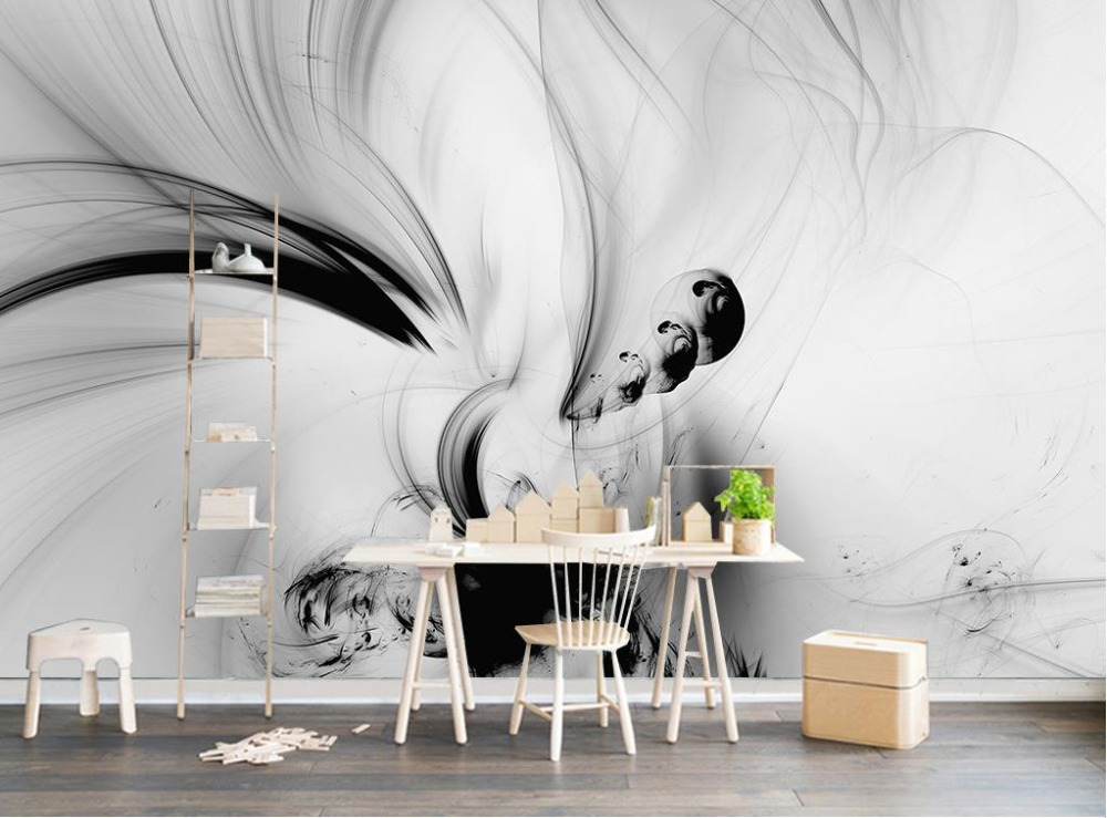 European 3D Wallpaper abstract Artistic fantasy painting Wall Mural beautiful black and white Wallpapers For Living room
