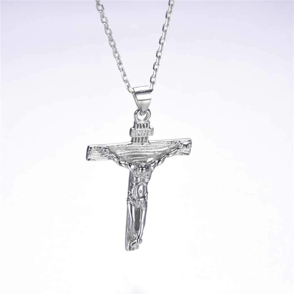 U7 925 ayar gümüş kadın zincir hıristiyan takı çapraz INRI haç İsa adet kolye ve kolye yılbaşı hediyeleri SC229