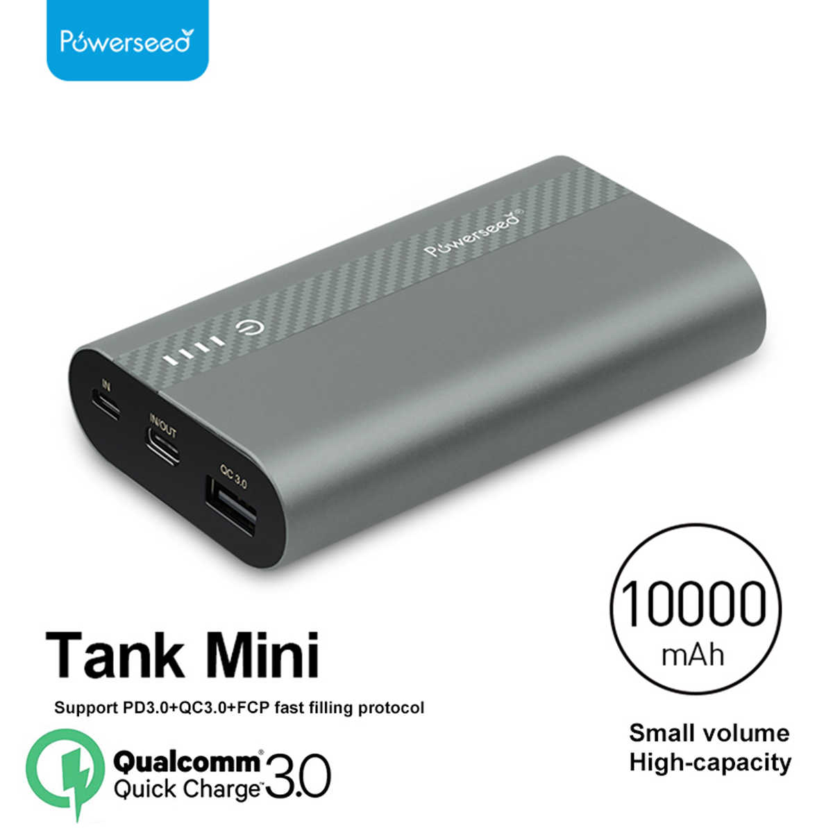 Powerseed 10000mAh QC3.0 Quick Charge 3,0 Power Bank Dual USB cargador de batería externo portátil para iPhone para Samsung