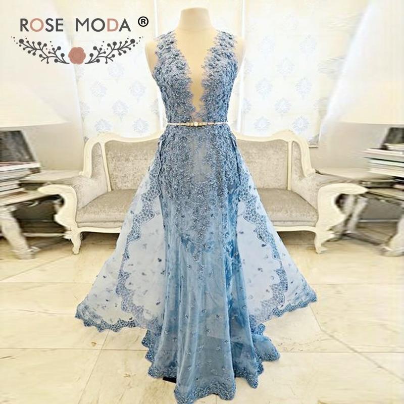 Rose Moda Blue Lace Mermaid   Evening     Dress   See Through Skirt Gold Sash Party   Dress   Custom Made