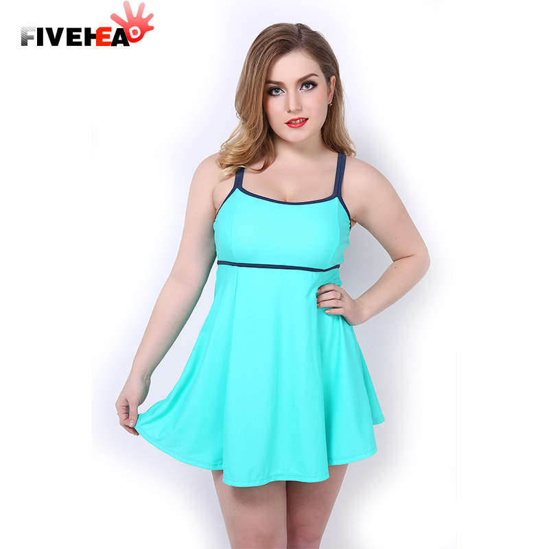 New Summer Dress Large Swimwear Women Plus Size One Piece Swimsuit Solid Bathing Suit -6751