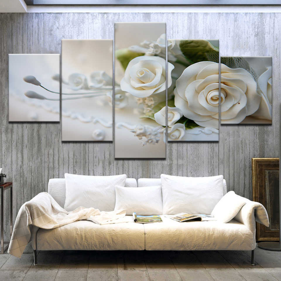 Canvas HD Prints Pictures Modular Wall Art Posters Framework 5 Pieces White Roses Flowers Paintings For Living Room Home Decor