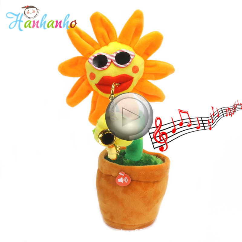 Creative Singing Flower Dancing Sunflower Plush Toy Kids Musical Doll Birthday Gift Sunflower with Saxophone 28 songs