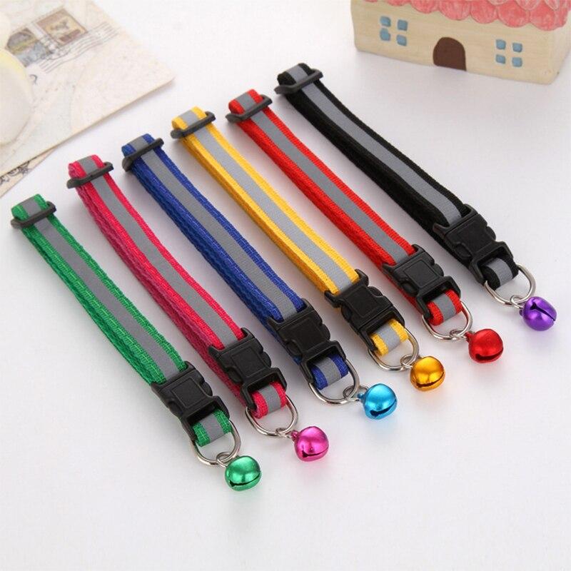 Sale 1PC Wide 1.0cm adjustable Reflective stripe Cute Bell collar pet cat collar dog collar pet collar pet gifts wholesale