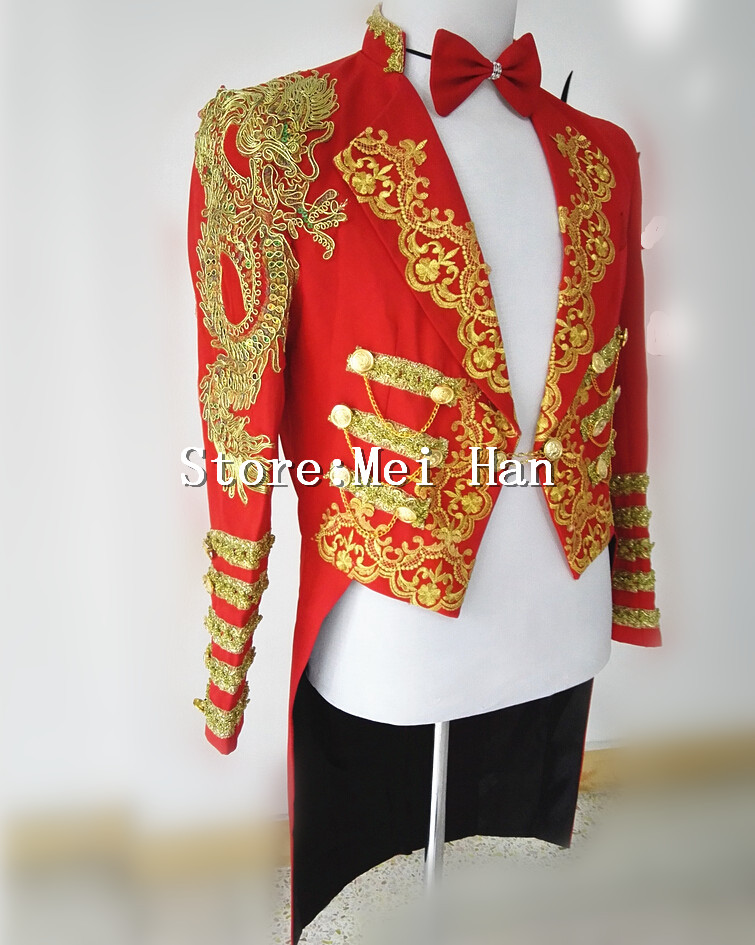 Shining Gold Trims Tuxedo For Men Chains Jacket Embroidery Stage Performance Circus Wear Costume Outerwear Male Singer Outfit
