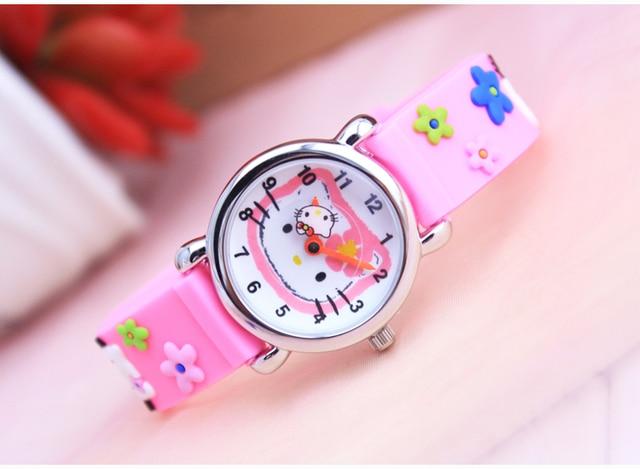 Hello Kitty Children WristWatches Cartoon 30M waterproof Children Watch best Gif