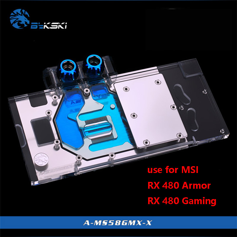 BYKSKI Water Block use for MSI-RX480-Armor/RX-480-Gaming-X/ rx470 gaming x 8G / RX570 580 Mech Full Cover Copper Block RGB AURA