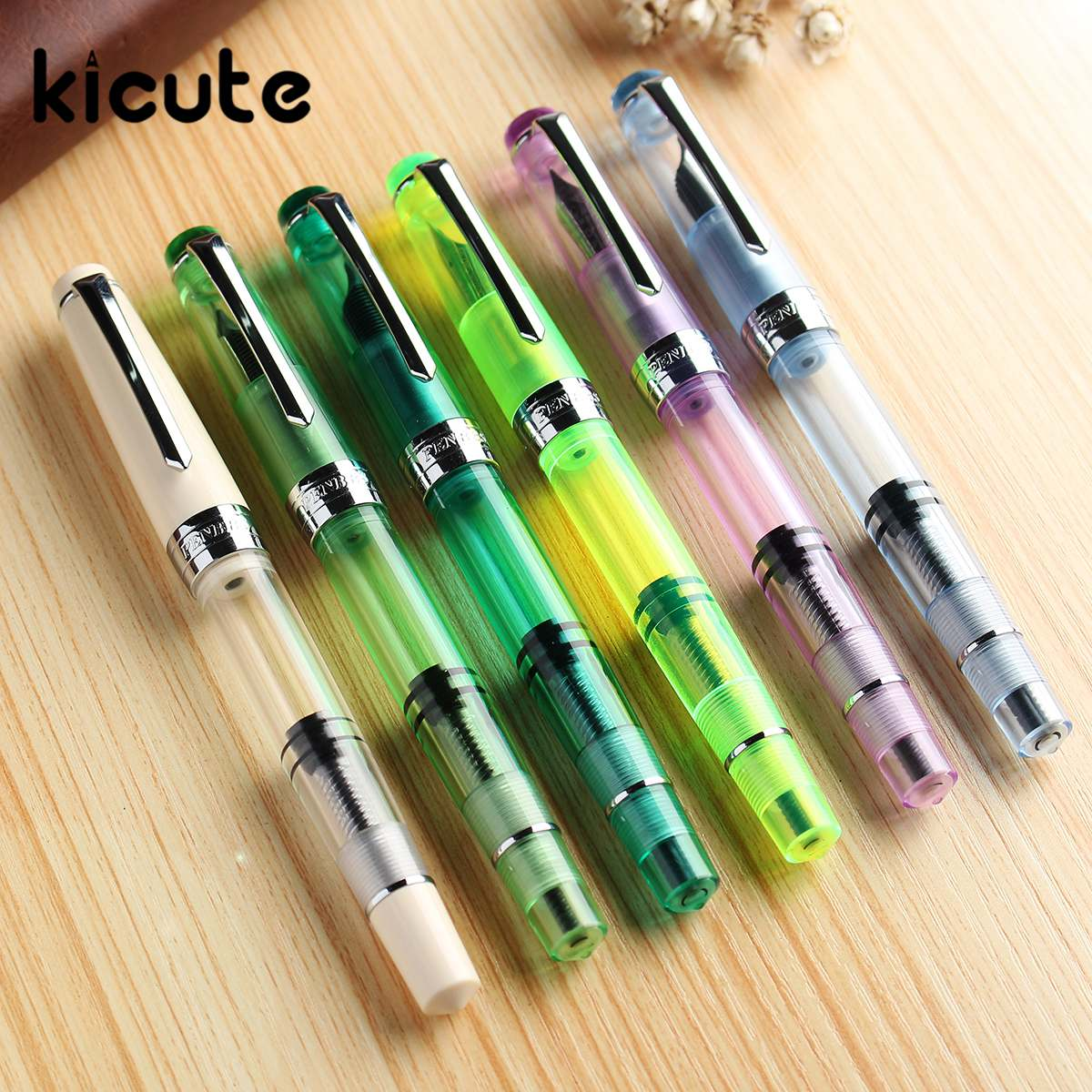 Kicute 1 pcs 0.5mm Fine Nib Transparent Piston Fountain Pen Office School Stationery Supplies Gifts for Students Smooth Writing kicute 1pcs fountain pen with silver meteor point high quality office school stationery supplies for writing gift for students
