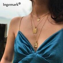 Ingemark массивное многослойное ожерелье-чокер Длинная цепочка Квадратный Кулон Из Розового Креста ожерелье s для женщин девушек модное ювелирное изделие