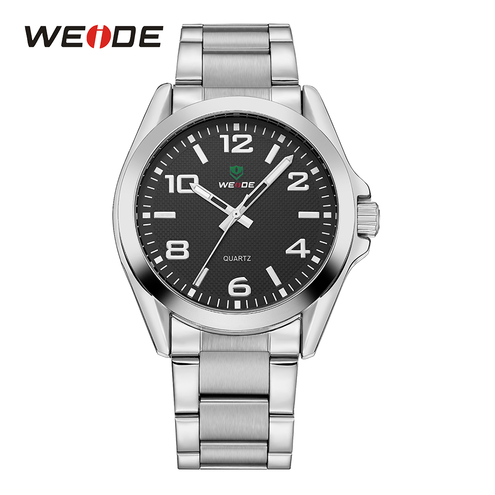 WEIDE Mens Silver Sport Military Quartz Watch Movement Casual Analog Stainless Steel Band Wrist Watch Fold Over Clasp Black Dial weide wh 2303 stylish stainless steel men s analog quartz wrist watch silver blue 1 x cr2016