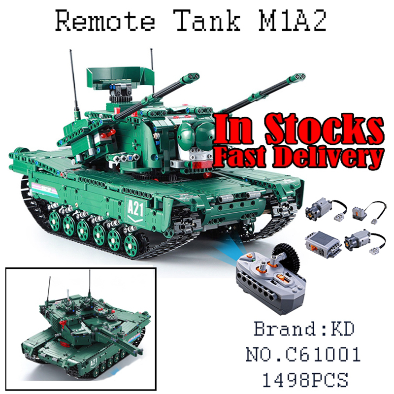61001 1498Pcs Military Weapon Series The M1A2 RC Tank Model Building Blocks Bricks Educational Toys For children Christmas Gifts cogo 743pcs set diy educational 8 in 1 armed building blocks model military weapon ship tank fighter assembling bricks toys kids