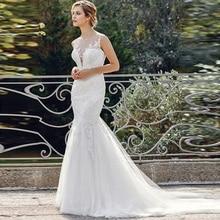 Boho Mermaid Appliqued Wedding Dress Illusion Back Sheer O Neck Vestido De Noiva Bridal Gown Free Shipping abiti da sposa