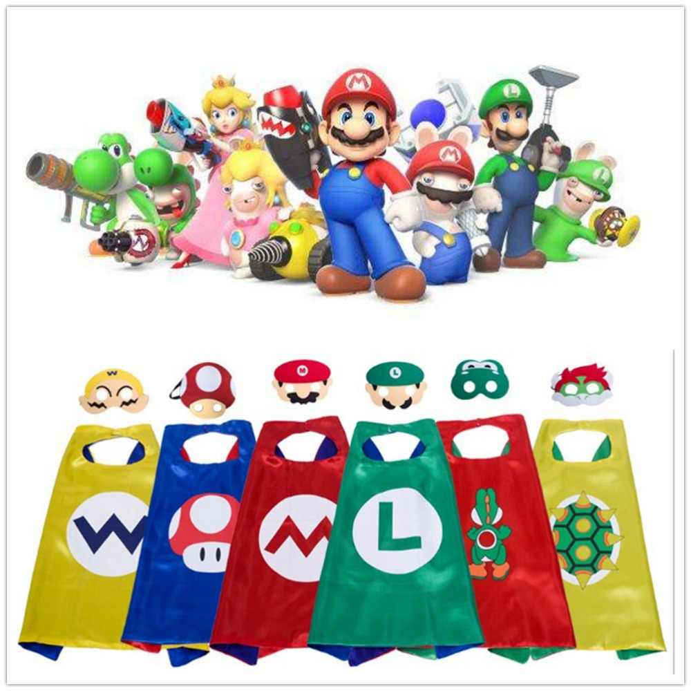 Kids Super Mario Bros Costumes Boys and Girls Capes with Masks Party Favor Dress Up Halloween Cosplay Cloak