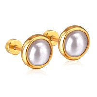 918eced97 Size 4mm/6mm/8mm/10mm Semicircle Imitation Pearl Gold/Silver Color Screw