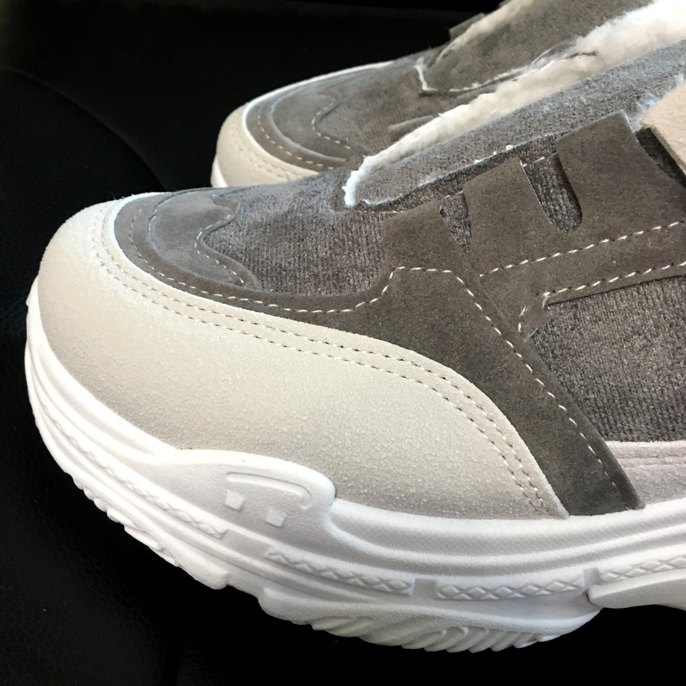 2019 Chaussures Nouveau Casual Plus rose De E412 Plat Femme Chaud Appartements Plate Talons Sneakers Gris Velours Gris Hiver forme Femmes Rose Pour Frd1d0