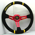 New Universal Sport 138/350mm Second Level Leather Deep Dish Steering Wheel Yellow