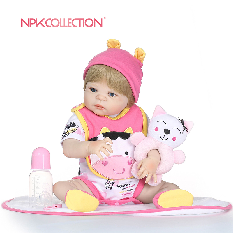 NPKCOLLECTION Latest new 56cm Full Silicone Reborn Boneca Realista Fashion Baby Dolls For Princess Children Birthday Gift