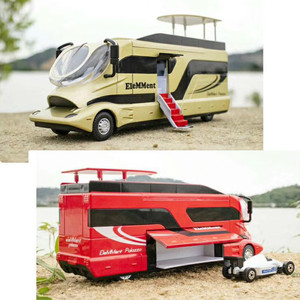 Upgrade Version Alloy Caravan Nanny Caravan Recreational Vehicle Open Doors Stair Children's Toys Big 2 In1 Race Car Model 1:32