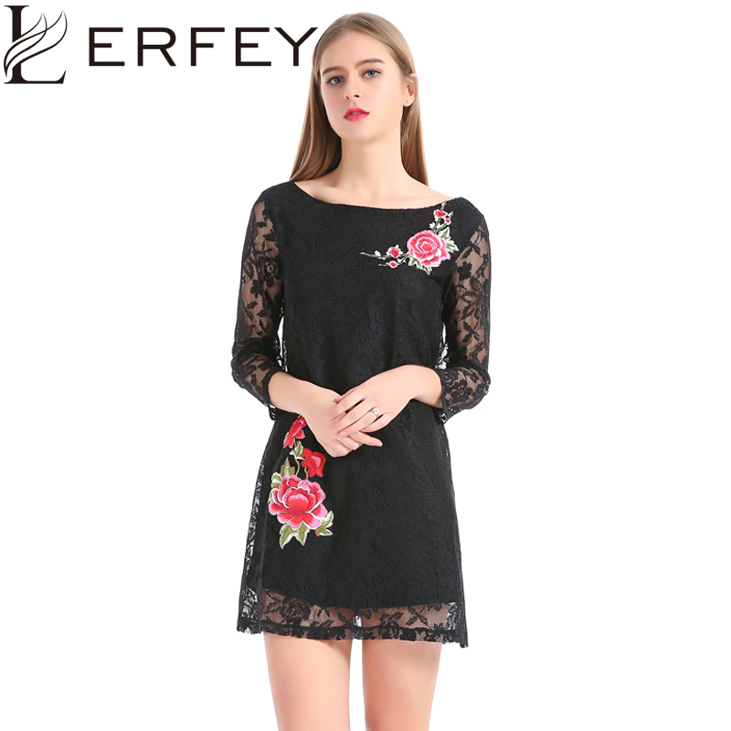 LERFEY Svart kjole Kvinner Vår Elegant Broderi Blomster Blonder - Kvinneklær - Bilde 1