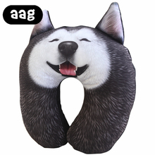 AAG U shape Nap Pillow with  Funny 3D emulational Husky Expressions Dog Pattern Super Cute Plush Toy Office Travel Neck