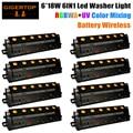 Новый дизайн 8xlot 6*18 Вт RGBWA UV 6IN1 Беспроводная батарея Светодиодная лампа для мытья DMX 6/10CH черная литая лампа для мытья сцены 90в-240в