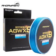 ANGRYFISH Diominate X9 PE Line 9 Strands Weaves Braided 300m/327yds Super Strong Fishing Line 15LB-100LB Blue