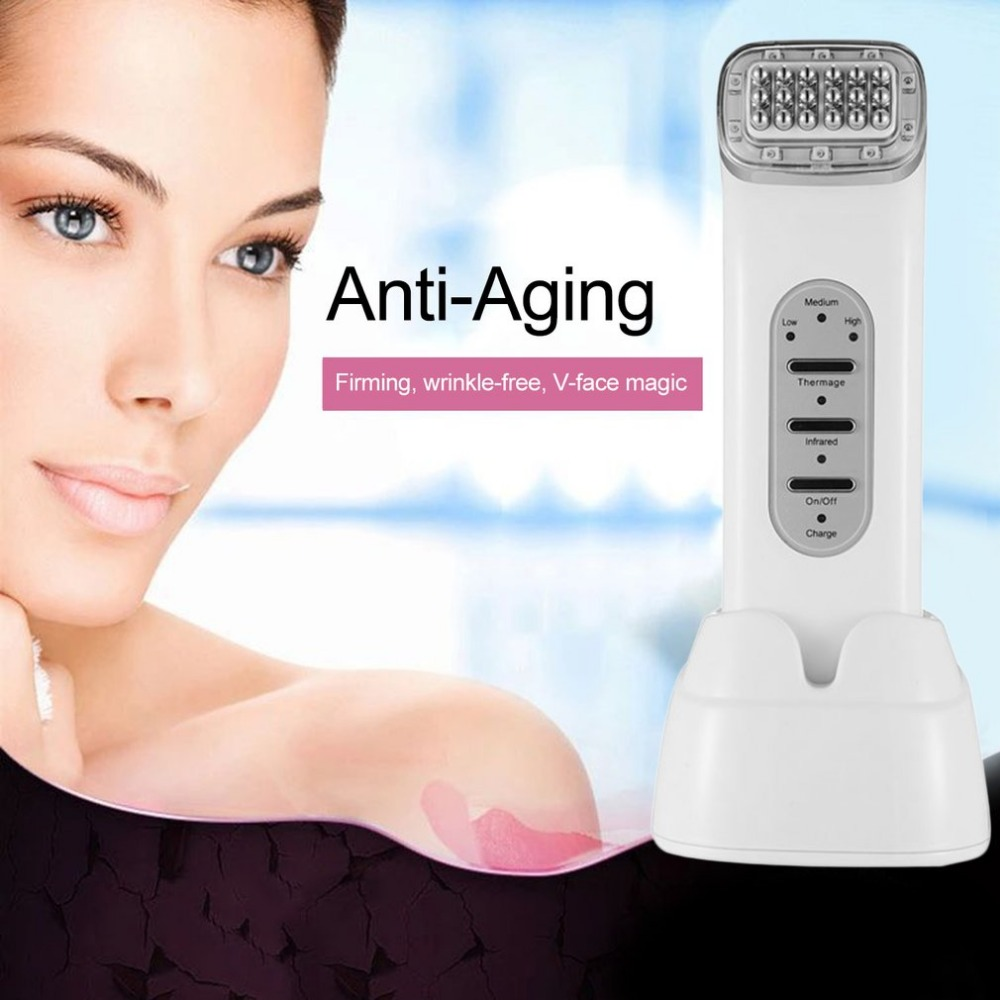 Rechargeable RF Wrinkle Removal Anti-aging Face Lift Massager Radio Frequency Face Care Microdermabrasion Skin Tightening Tool home travel use iontophoresis ems stimulator anti aging anti wrinkle face eye lift skin tightening firming beauty instrument