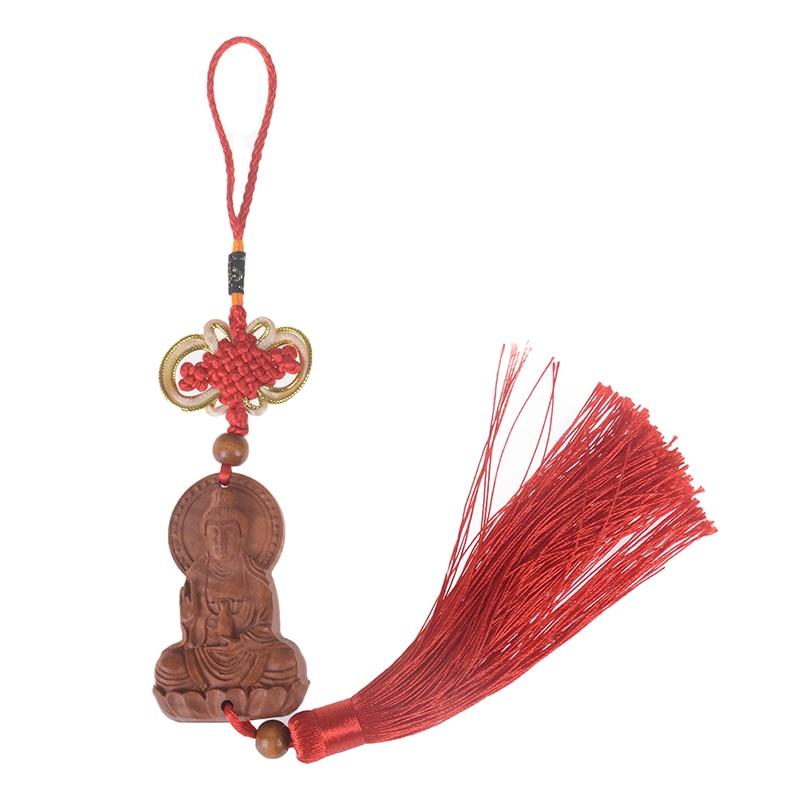 1PCS Gods Fengshui Wood Buddha Carved Hot Wood Carving Guanyin Buddha Statue Keychain Wooden Hanging Ornament Miniature