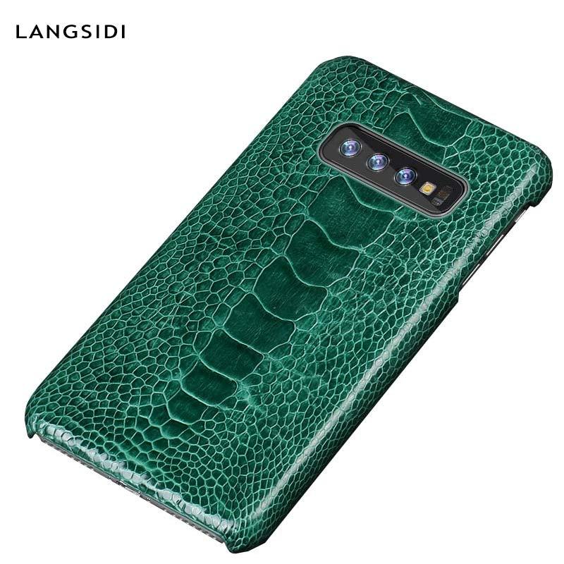 Naturel de luxe D'autruche En Cuir étui pour samsung S10 S9 S8 S7 couverture arrière Pour Galaxy s10 plus LITE A70 A50 A40 A30 A8 A7 2018