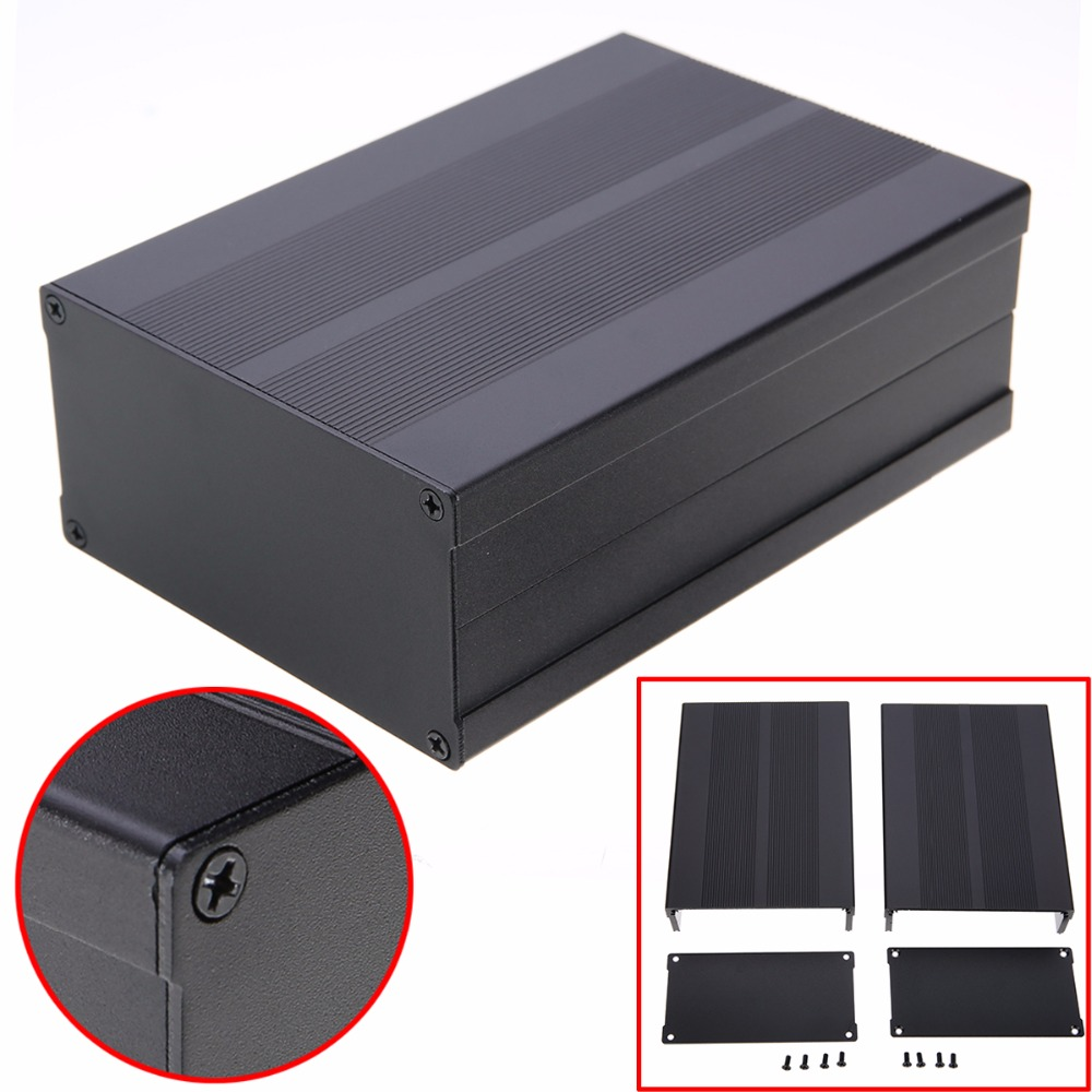 Black Aluminum Enclosure Case Electronic Project Circuit Board PCB Instrument Box 150x105x55mm black electronic project case aluminum circuit board enclosure box 150x105x55mm with screws