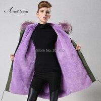 Женская Mrs с капюшоном меховой воротник толстый мягкий длинное пальто Верхняя одежда куртка Фиолетовый Мех животных куртка на подкладке