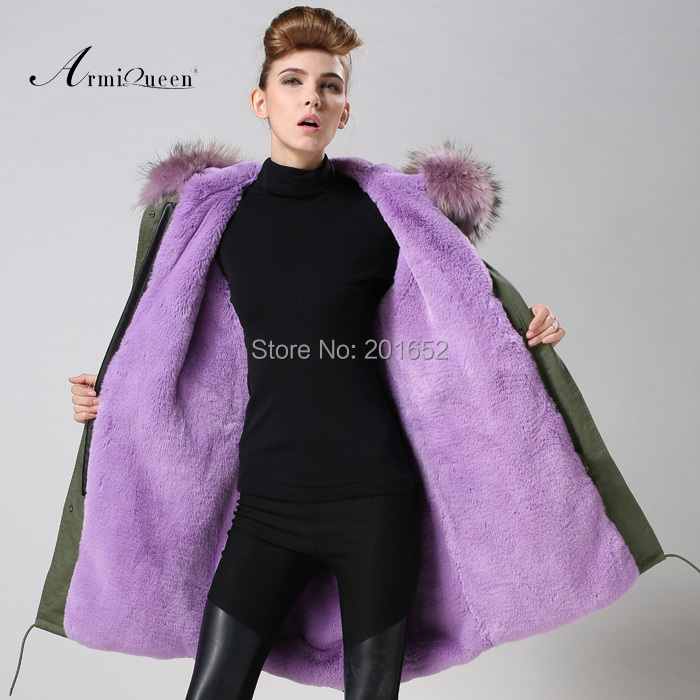 Womens mrs Winter Hooded Fur Collar Thick Padded Long Coat Outerwear Jacket purple fur lined jacket