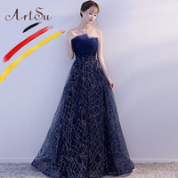 ArtSu Women Strapless Floor Length Sequin Party Dress Navy Blue Elegant Floral Embroidery Maxi Bandage Mesh Tutu Dress Ball Gown