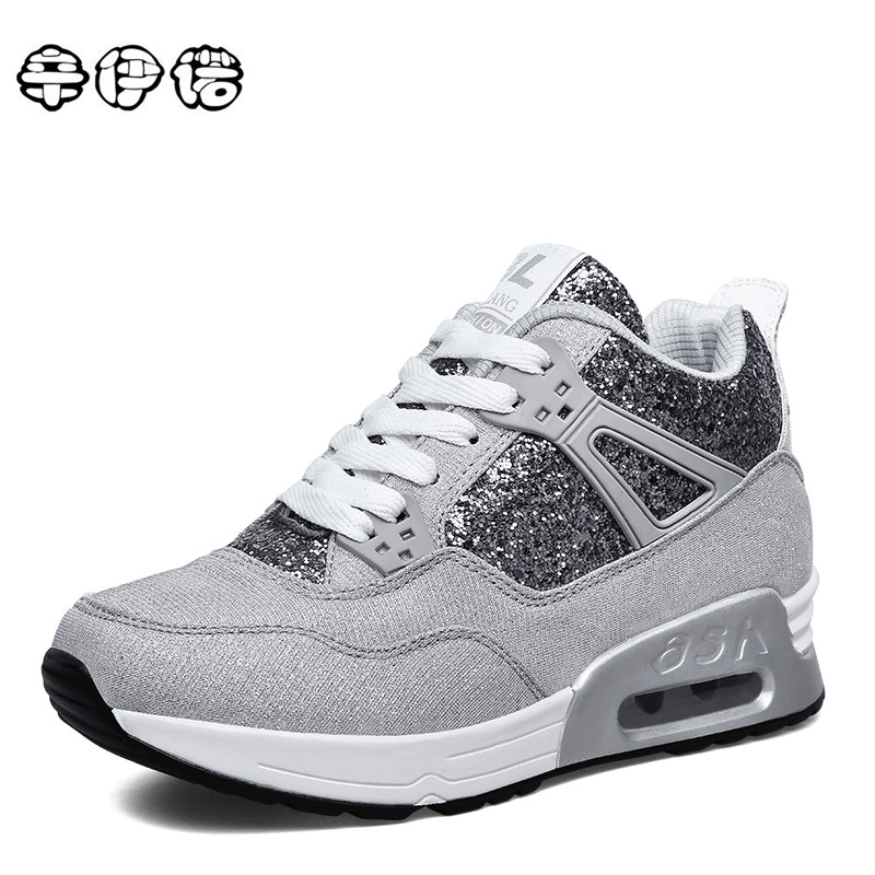 2018 Bling Womens Casual Shoes Spring Autumn Breathable women Shoes Wedges Light Soft Black Shoes Zapatillas Deportivas Hombre