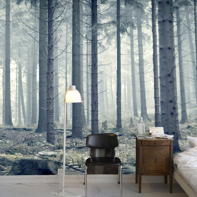3d wallpaper modern personality forest trunk nature mural for Nature wallpaper for bedroom