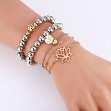Bohopan 5PCS/Set New Design Women Bracelets Set Silver Beads Pendant Bangles Unique Heart Bracelet Jewelry 2019