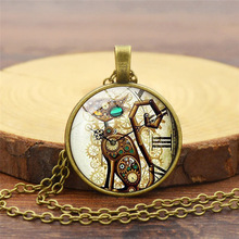Gimayer Steampunk cat time Crystal necklace Temperament simple glass pendant necklace sweater chain недорого