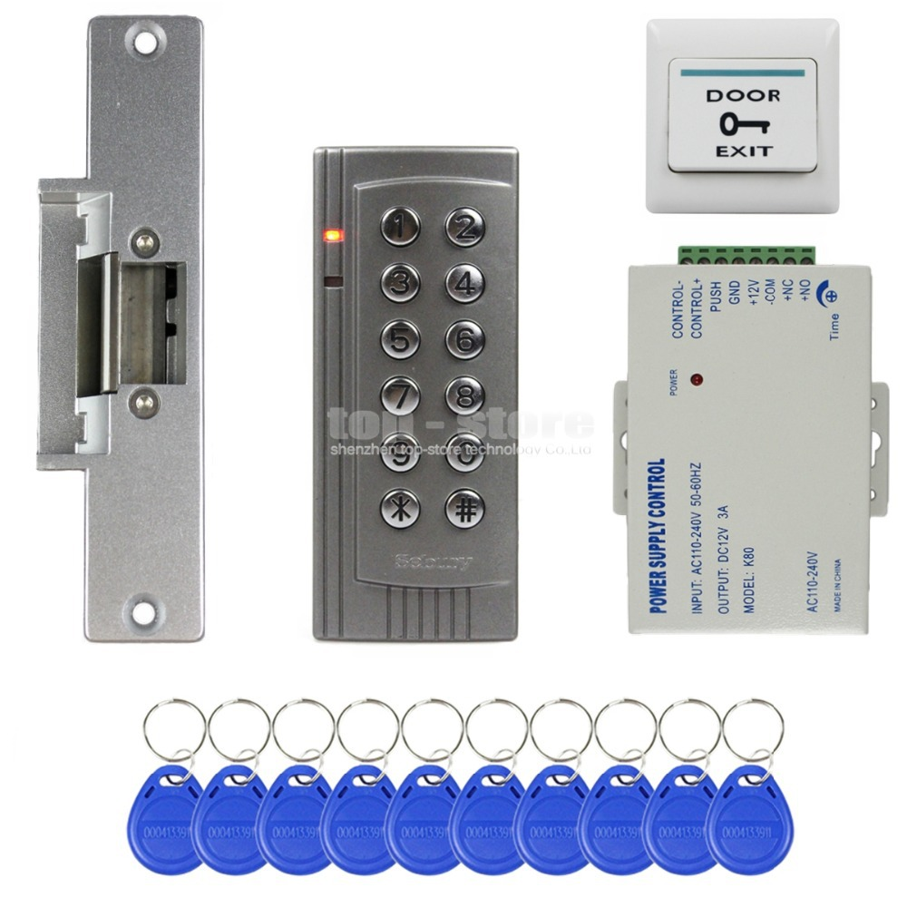 DIYSECUR RFID 125KHz Reader Keypad Access Control System Security Kit + Electric Strike Door Lock + Power Supply K4 metal rfid em card reader ip68 waterproof metal standalone door lock access control system with keypad 2000 card users capacity