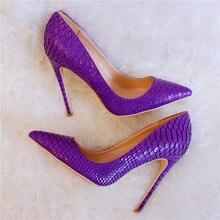 цена на Free shipping fashion women Pumps Purple python snake point toe high heels shoes 12cm 10cm 8cm Stiletto Heels
