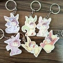 6pcs/set Anime New Osomatsu San Mr. Osomatsu Osomatsu Matsuno Karamatsu Ichimatsu Portachiavi Keychain Keyring