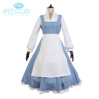 Beauty And The Beast Movie Belle Maid Gown Apron Dress Outfit Uniform Girls Halloween Cosplay Costumes