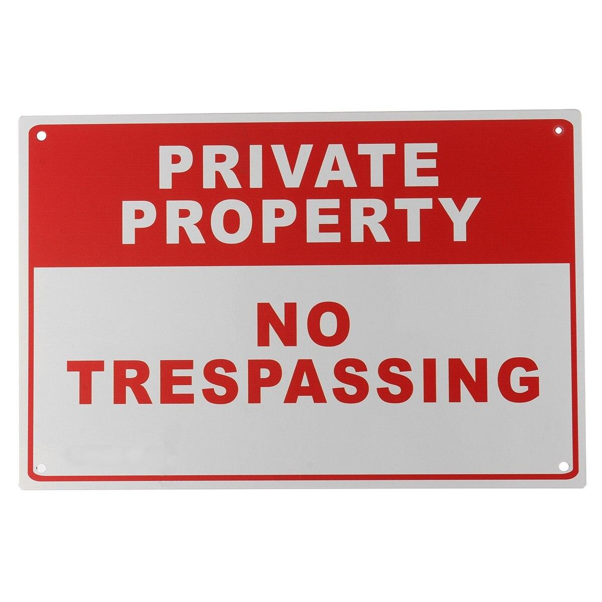 Safurance Propriedade Privada No Trespassing Sinal De Alerta De Segurança de Metal 4 Furo 20x30 cm Home Security