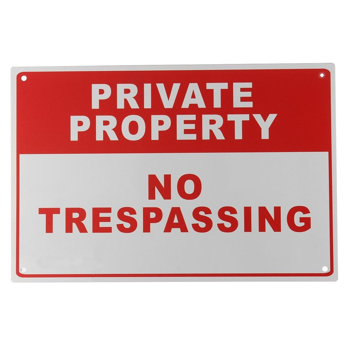 fba42bd5f9e Seguro propiedad privada no trespassing metal Seguridad advertencia 4  agujero perforado 20x30 cm seguridad