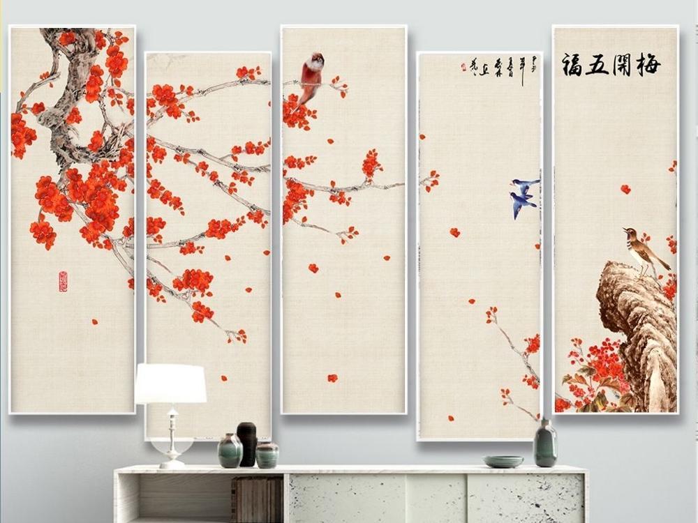 XX ديكور المنزل قماش زهر البرقوق مع أفضل أتمنى المستقبل-في الرسم والخط من المنزل والحديقة على  مجموعة 1
